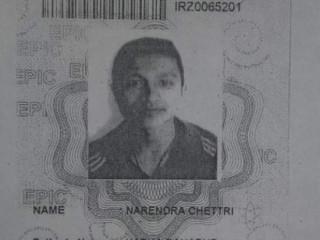 Lost voter ld card in the name of narendra chettri