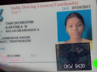 Lost driving license at Chennai
