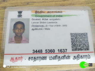 Found aadhar card of Lancer Shibin Lawrence