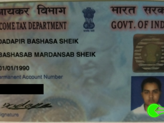Found PAN card of Dadapir Bashasa Sheik